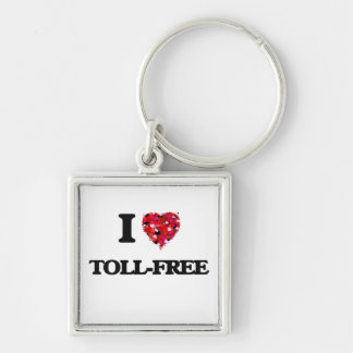 I love Toll-Free Silver-Colored Square Keychain