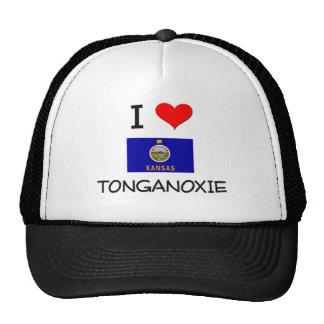 I Love TONGANOXIE Kansas Trucker Hats