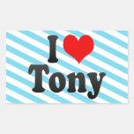 I love Tony Rectangular Stickers