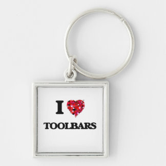 I love Toolbars Silver-Colored Square Keychain