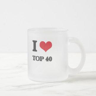 I Love TOP 40 10 Oz Frosted Glass Coffee Mug