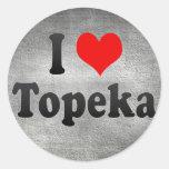 I Love Topeka, United States Round Stickers