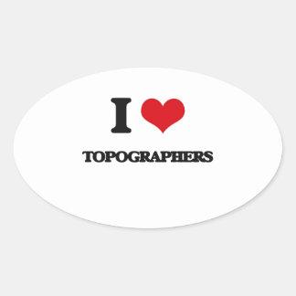 I love Topographers Oval Sticker
