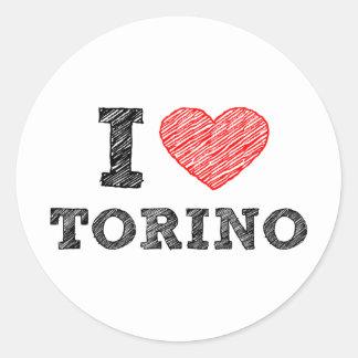 I Love Torino Round Stickers