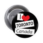 I Love Toronto Canada Pinback Buttons