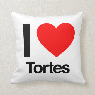 i love tortes throw pillows