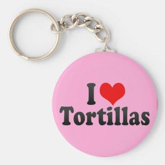 I Love Tortillas Basic Round Button Keychain