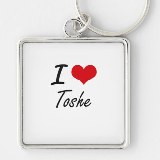 I Love TOSHE Silver-Colored Square Keychain