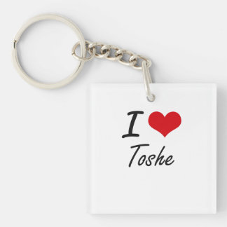 I Love TOSHE Single-Sided Square Acrylic Keychain