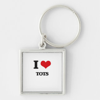 I love Tots Silver-Colored Square Keychain