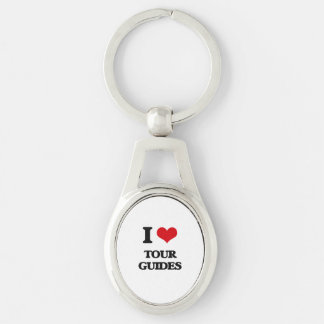 I love Tour Guides Silver-Colored Oval Metal Keychain