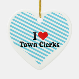 I Love Town Clerks Double-Sided Heart Ceramic Christmas Ornament