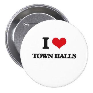 I love Town Halls 3 Inch Round Button