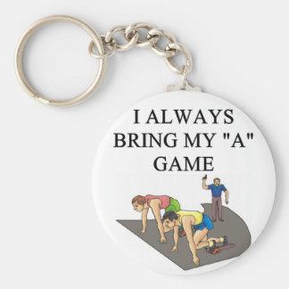 i love track and field running raing keychain