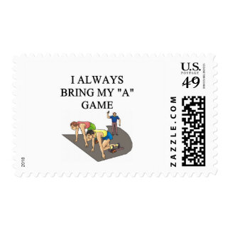 i love track and field running raing postage stamp
