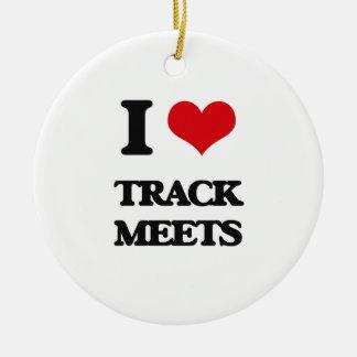 I love Track Meets Ceramic Ornament