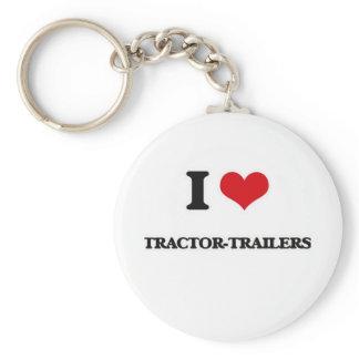 I Love Tractor-Trailers Keychain
