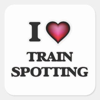 I Love Train Spotting Square Sticker