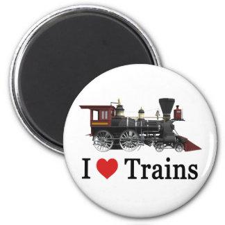 I Love Trains 2 Inch Round Magnet