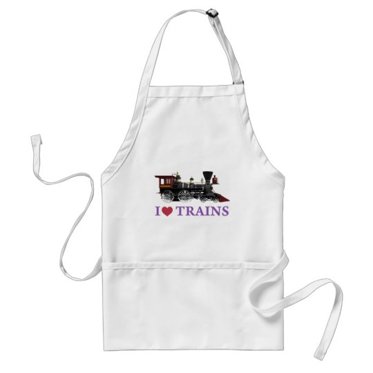 I Love Trains Adult Apron