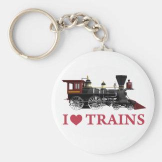 I Love Trains Basic Round Button Keychain