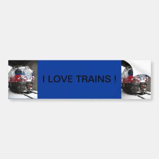 I LOVE TRAINS ! BUMPER STICKER