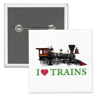 I Love Trains Button