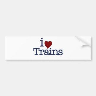 I Love Trains Car Bumper Sticker