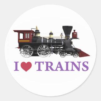 I Love Trains Classic Round Sticker