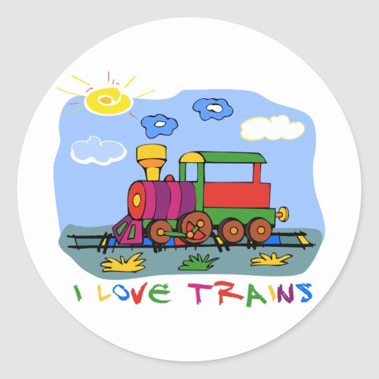 I Love Trains Classic Round Sticker