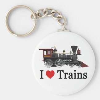 I Love Trains Key Chain