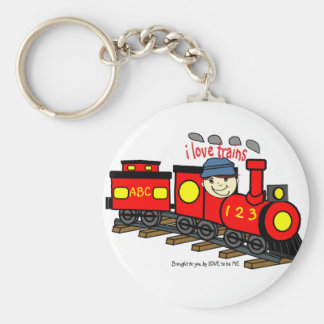 I LOVE TRAINS - LOVE TO BE ME.png Keychain