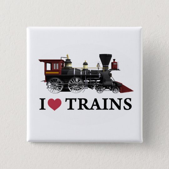 I Love Trains Pinback Button