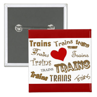 I Love Trains Pinback Button