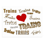 I Love Trains Post Cards