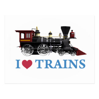 I Love Trains Postcard