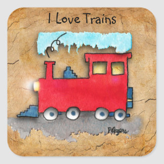 I Love Trains Square Sticker