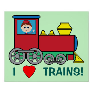 I Love Trains with Boy Engineer Poster