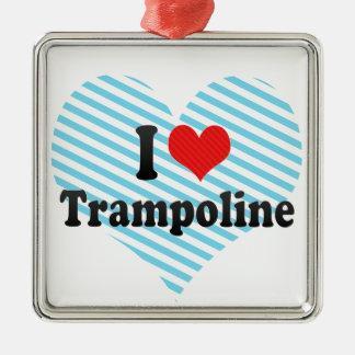 I Love Trampoline Square Metal Christmas Ornament