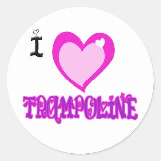 I LOVE Trampoline Round Sticker