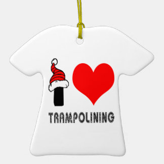 I Love Trampolining Design Double-Sided T-Shirt Ceramic Christmas Ornament