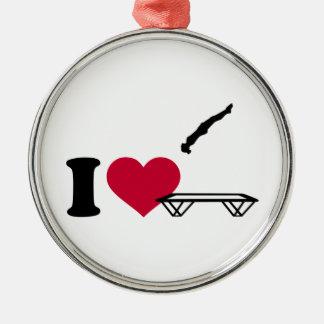 I love trampolining metal ornament