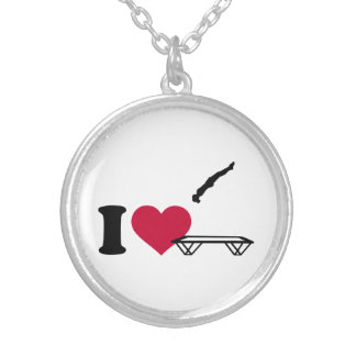 I love trampolining silver plated necklace