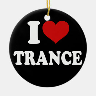 I Love Trance Double-Sided Ceramic Round Christmas Ornament