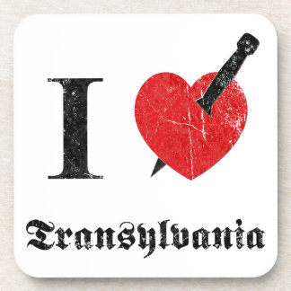 I love Transylvania (black eroded Font) Beverage Coaster