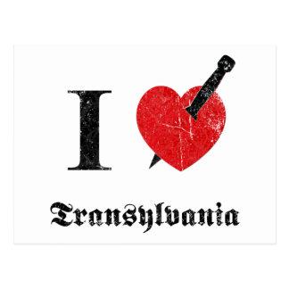 I love Transylvania (black eroded Font) Postcard