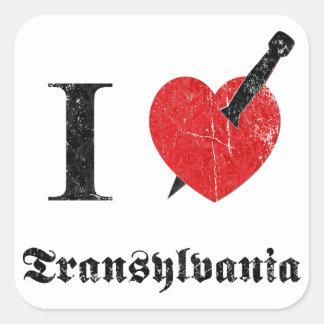 I love Transylvania (black eroded Font) Square Sticker