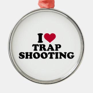 I love trap shooting metal ornament