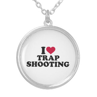I love trap shooting silver plated necklace