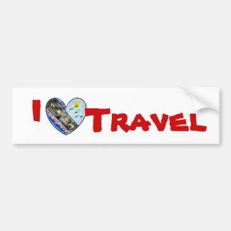 I Love Travel Bumpersticker Car Bumper Sticker